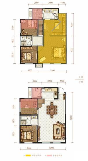 新房 香山长岛 户型图  c2 居       室: 5室2厅3卫1厨 建筑面积: 140