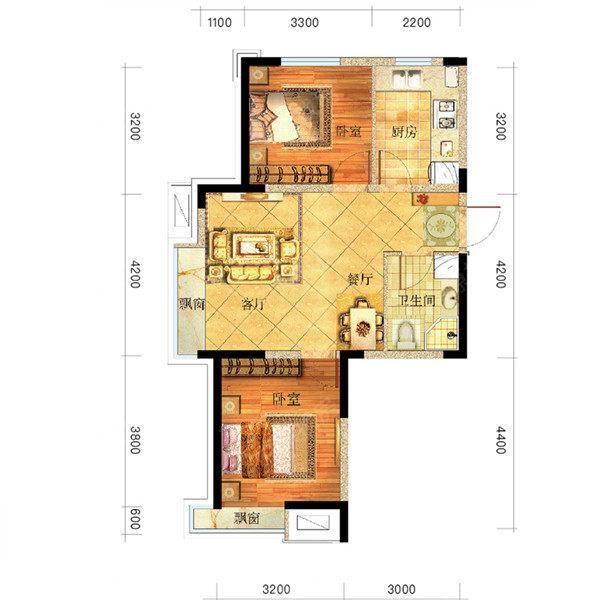 新房 广厦绿园 户型图   03户型 居       室: 2室2厅1卫1厨 建筑面积
