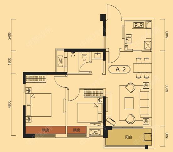 新房 广电兰亭盛荟 户型图   a2 居       室: 2室2厅1卫1厨 建筑面积