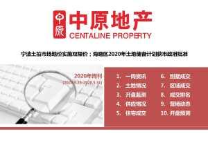 宁波土拍市场地价实施双限价;海曙区2020年土地储备计划获市政府批准